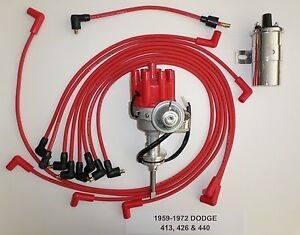 Details about DODGE 440 59-72 RED Small Female HEI Distributor + Spark Plug  Wires +Chrome Coil