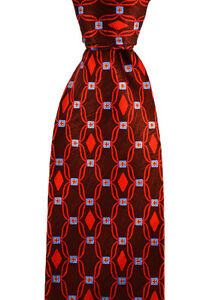 """Mens BRIONI Italy Linked Diamonds Hand Made Woven 3.25"""" Silk Neck Tie NWT"""