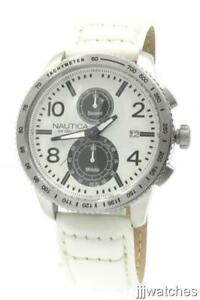 New-Nautica-Chronograph-White-Leather-Band-Men-Watch-Date-45mm-N19578G-195
