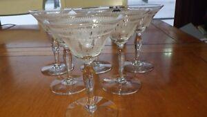 Needlepoint Etched Cordial glasses bulbous stem flared bowl 6 2 oz elegant stems