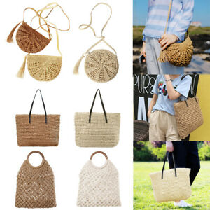 b3208fa515e1 Details about 8 Styles Summer Women Straw Rattan Beach Bag Woven Shopping  Handbag Tote Purse