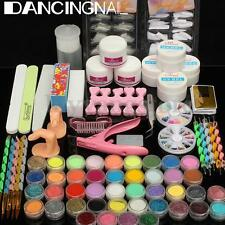 Pro Acrylic Liquid Nail Tips Art Brush Primer Glitter Powder Buffer Tool Set Kit