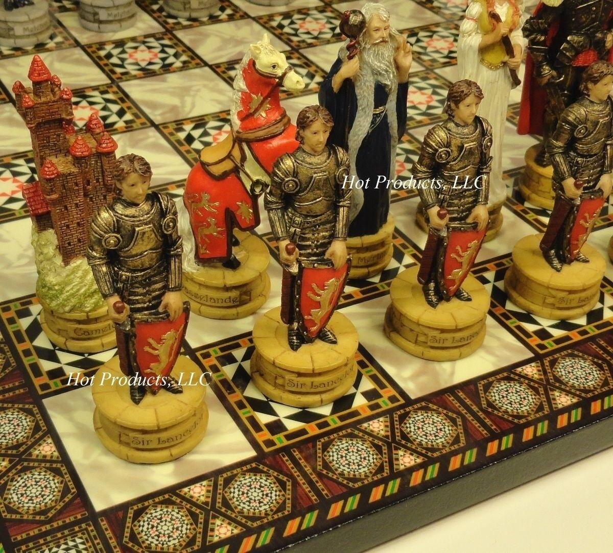 NEW  KING ARTHUR CAMELOT CHESS SET SET SET W  MOSAIC DESIGN BOARD 14  692fa2