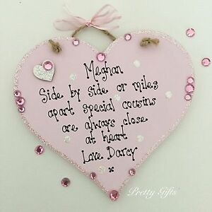 9052aee06e9d2 Details about Personalised Side By Side Or Miles Apart Cousins Friends  Heart Plaque Gift