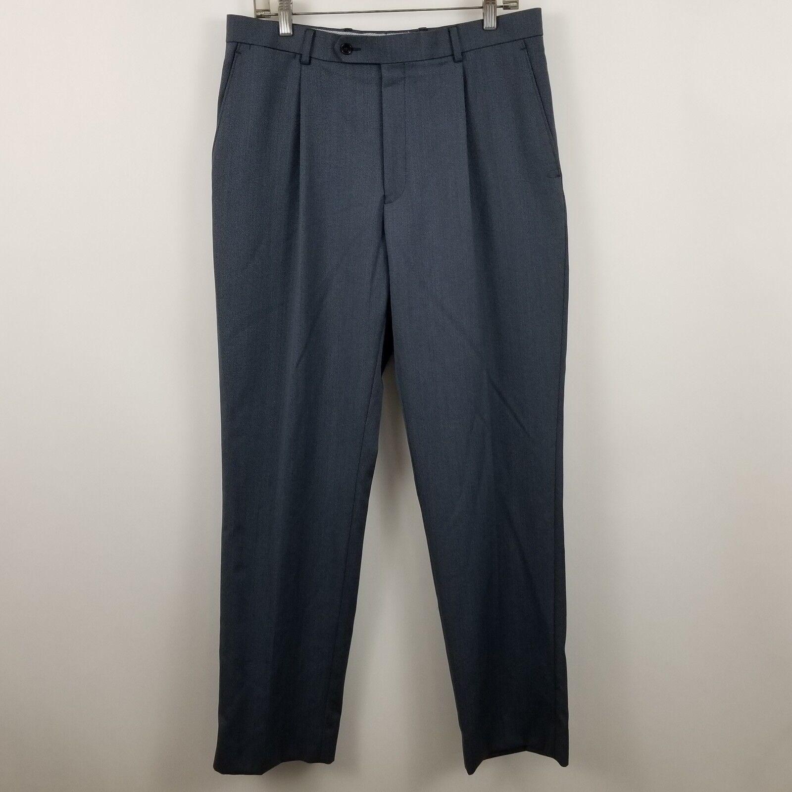 Hart Schaffner Marx Men's bluee Pleated Dress Pants Size 33R - 33x33