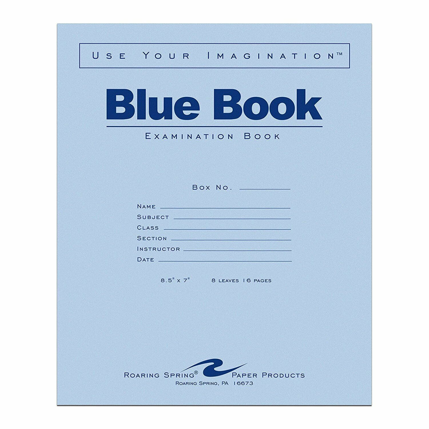 Roaring Spring Blue Exam Book 11 X 8 5 Inches 8 Sheets Full Case With 50