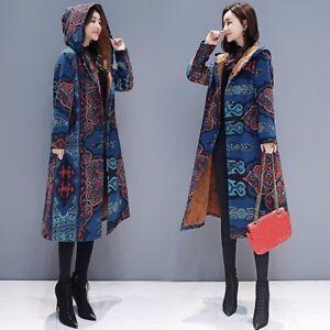 Women Floral Hooded Jacket Long Coat Ethnic Parkas Outwear Fleece Lined Warm Top