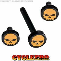 Black Billet Fairing Windshield Hardware Kit 14-up Harley Touring Orange Skull
