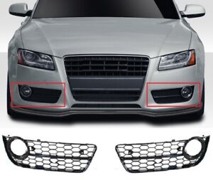 Fuer-Audi-A5-8T-07-12-S-line-Rs5-Look-Nebelscheinwerfer-Blende-Wabengrill-Grill