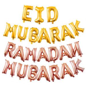 16/'/'slam Happy Eid Mubarak Ramadan Foil Balloon Gold Silver Balloons Party //DE