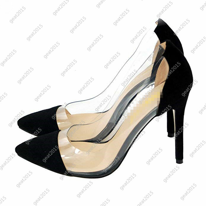 Luxury Sexy Pointed Womens shoes Pumps High Heels Transparent Party Business modern