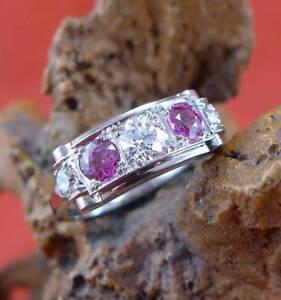 Herrlicher-rosa-Saphir-Diamant-Ring-in-585-Weissgold