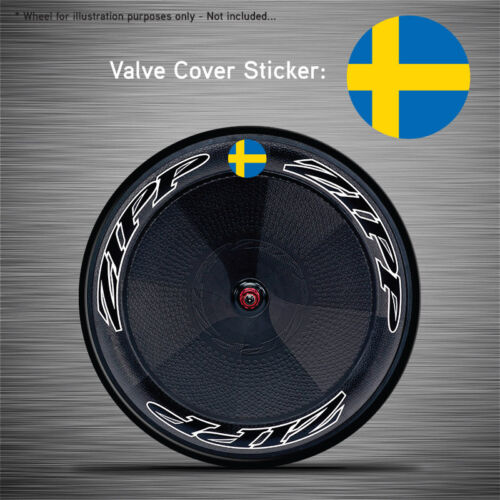 VCS043-6x Sweden Flag Disc Wheel Valve Covers//Patches Zipp Hed Corima FFWD