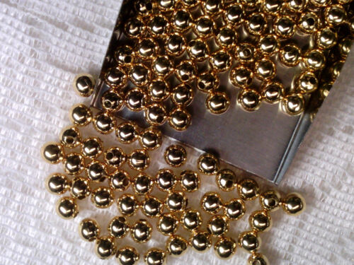 Vtg 109 GOLD COLOR SOLID METAL ROUND 5mm SPACER BEADS #112210b