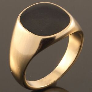 Yellow-Gold-Plated-Black-Onyx-Mens-Signet-Wedding-Band-Pinky-Ring-N-to-Z-1-NEW