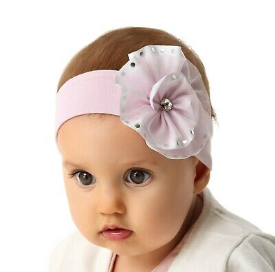 Marika Baby Mädchen Stirnband Haarband Frühling Sommer Kopfschmuck Taufe Rosa