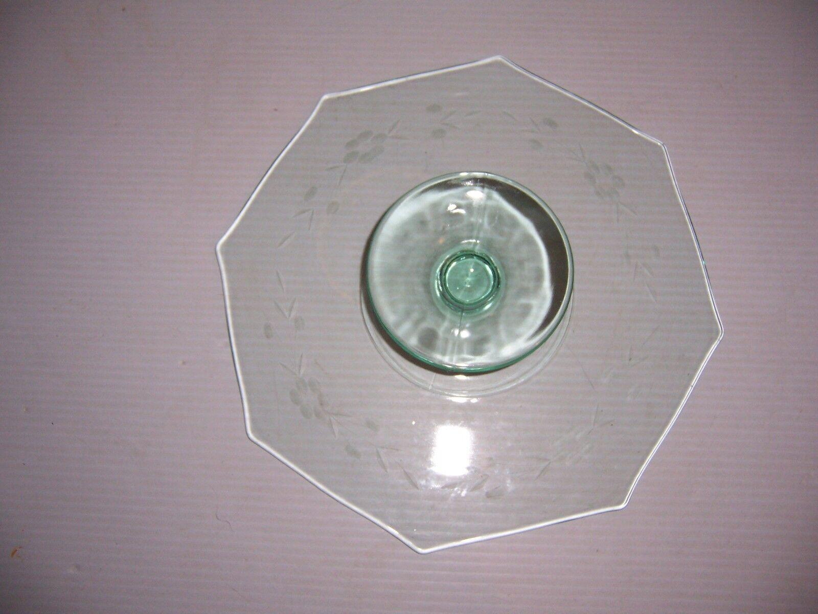 Octagonal 11  Glass Glass Glass Cake Stand Pedestal Blau Grün Tint acdfce