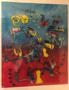 Roberto-Matta-034-Bande-A-Jazz-034-Etching-and-Aquatint-on-Arches-Framed-COA