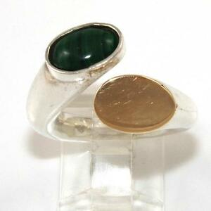 Vintage-Modernist-Sterling-Silver-14K-Yellow-Gold-Malachite-Bypass-Ring-Size-5-5