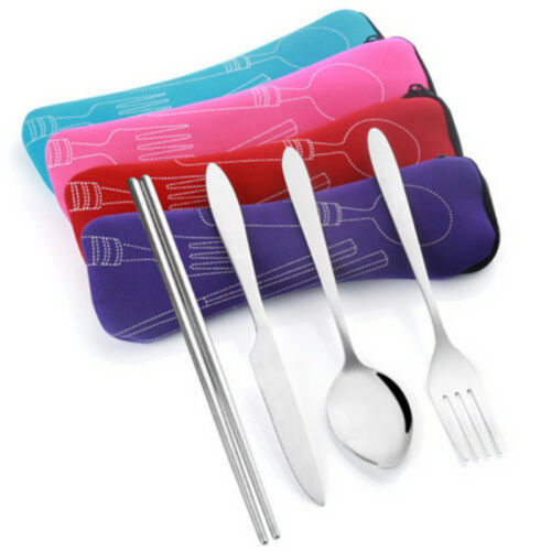 Mini Chopstick Spoon Fork Cutlery Bag fr Outdoor Travel Camping Tableware Supply
