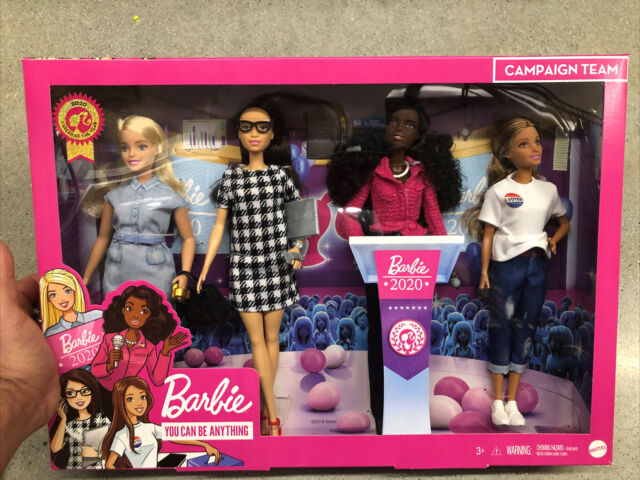 Barbie Career of the Year Campaign Team 4 Pack Barbie Dolls Gift Set Accessories