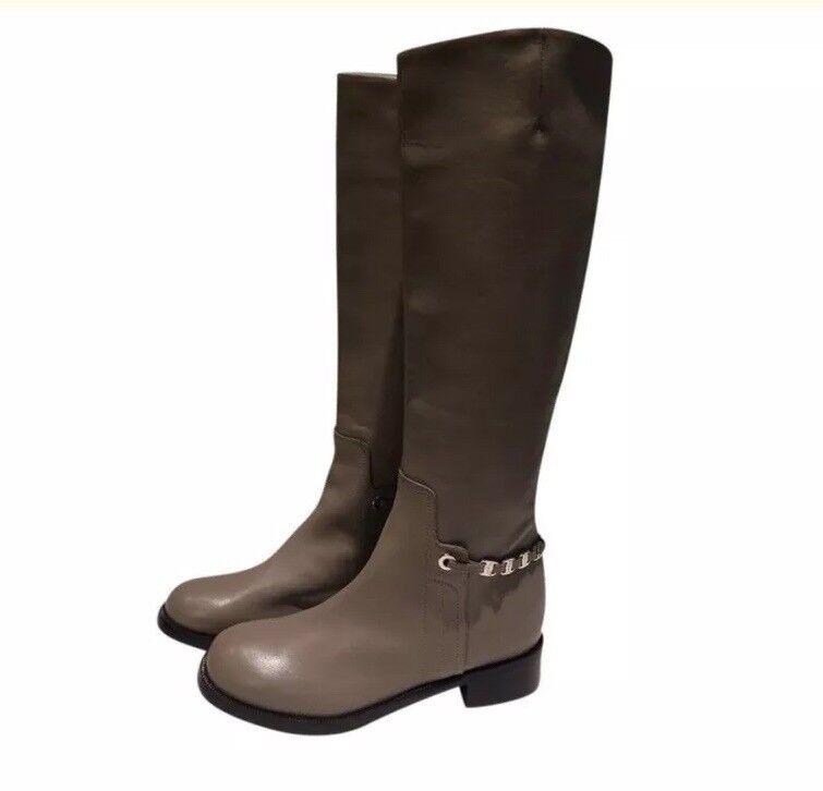 Salvatore Ferragamo  1,260 New Riding Tall Leather Boots (Size  36EU Taupe)