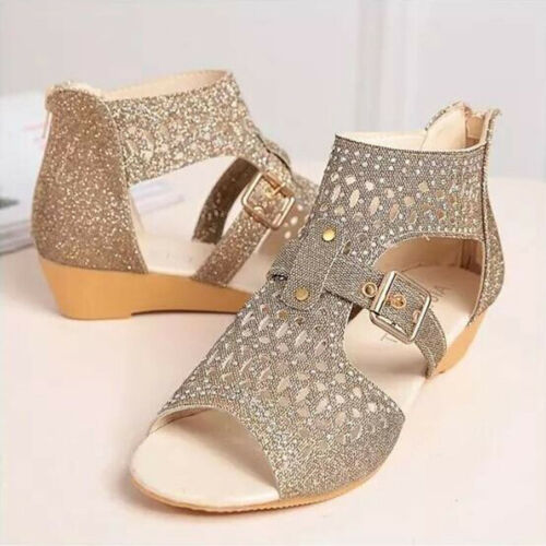 Women Shoes Large Size Leopard Sandals Spring Summer Wedge Buckle Shoes Slipper