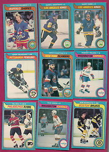 9-X-DIFFERENT-1979-80-OPC-NHL-PLAYER-EX-OR-BETTER-CARD-WHIT-GREEN-SCHMAUTZ
