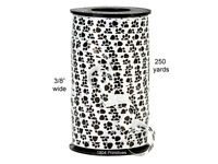 750 Ft Black Paw Print On White Curling Ribbon 3/8 Wide Dog / Cat