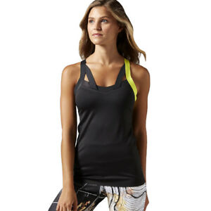 Black New Reebok Sleeveless Vest Tank Top Ladies Womens Gym Training Fitness