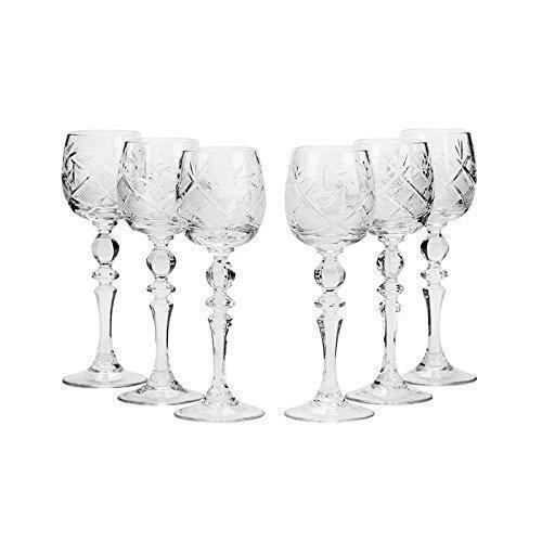 Neman Glassworks, 2 oz (environ 56.70 g) russe cristal verres à liqueur sur une tige ensemble de 6