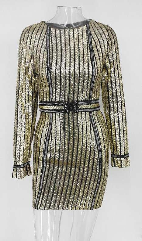 Kleid Paillettenkleid Abendkleid Abendkleid Abendkleid Cocktailkleid gestreift Gold schwarz gestreift c81f75