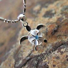 Genuine 925 Silver BLUE CZ Hawaiian Plumeria Flower Turtle Pendant Necklace