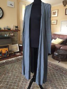 L lilas drapé Wrap Maxi Dress Ghost Taille Longueur Gris Manteau Cardigan FqvUqx