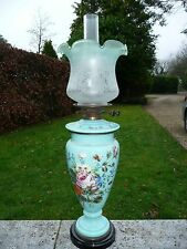 SUPER ANTIQUE GREEN GLASS VICTORIAN OIL LAMP WITH DUPLEX BURNER & ETCHED SHADE