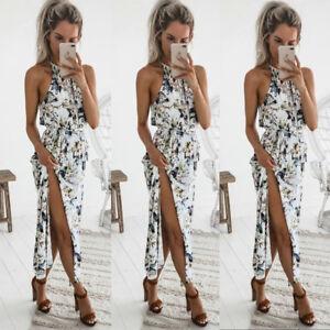 Boho-Women-Holiday-Halter-Neck-Sleeveless-Floral-Maxi-Dress-Beach-Party-Sundress