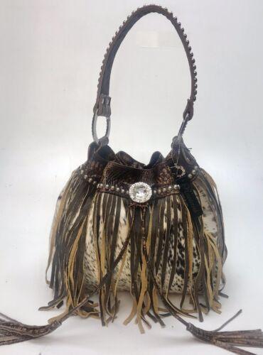 piel y cordón de con cocodrilo cuero en de Brn con plata de de pelo antigua Raviani broches X7FqAx