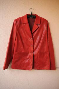 Roter-Blazer-mit-glaenzenden-Punkten-und-Schulterpolstern-Groesse-40-80s-90s