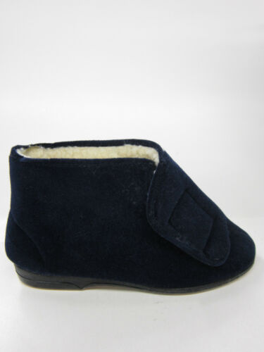 MENS WARM WINTER INDOOR HOUSE LOUNGE SLIPPERS BOOTS FAUX FUR LINED ALBERT NAVY