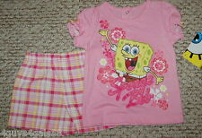 Toddler Girls Shorts & Shirt SPONGE BOB Pink PLaid Glitter 12 mo Nickelodeon *
