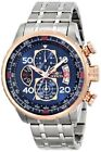 Invicta Men 48mm Aviator 18k RGP 2 Tone Stainless Steel Blue Dial Chrono Watch