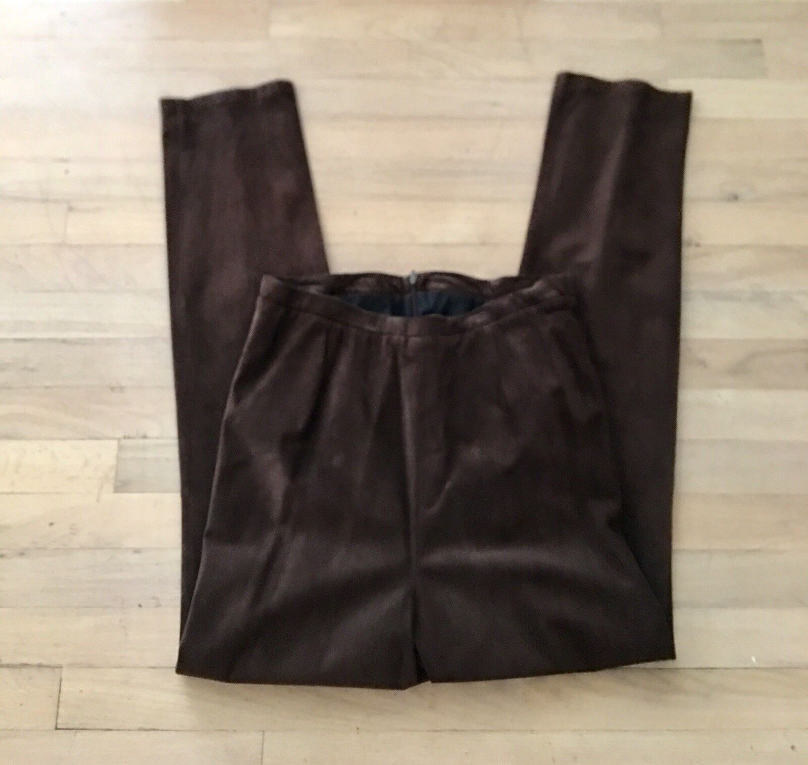 NWT MATERNITY PANTS BROWN SUEDE LINED LINED Straight Leg  Small  285 Retail