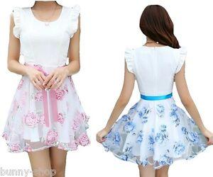 Gebluemtes-blaues-oder-rosa-ausgestelltes-Skater-Fruehlings-Sommer-Kleid-36-od-38