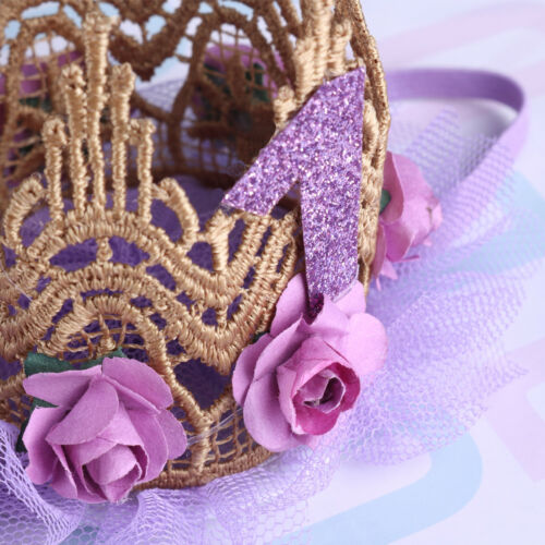 Newborn Baby Girls 1st Birthday 1 Year Party Princess Crown Lace Flower Headband