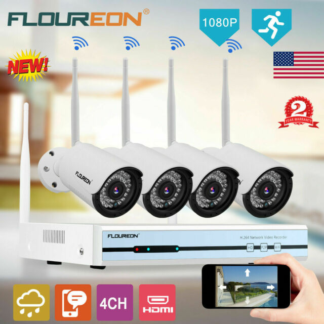 4CH Wireless CCTV 1080P DVR Kit Outdoor Wifi WLAN 720P Night Vision IP Camera