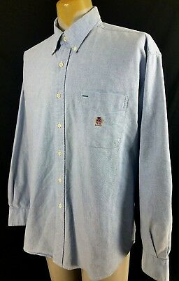 90s Tommy Hilfiger Denim Striped Lion Shirt size XL ~ 19863