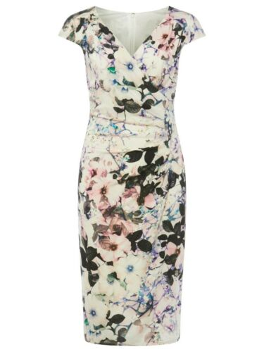 Ex Phase Eight Carla Floral Print Bodycon Dress Size 8-12
