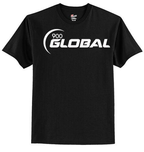 900 Global Men's T-Shirt Bowling Shirt Tagless 100% Black White