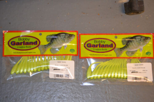 2 pks BS863 Pearl Chartreuse Bobby Garland Baby Shad 18 ct