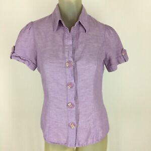 Harve-Bernard-Woman-s-shirt-top-blouse-size-small-purple-linen-Short-sleeve